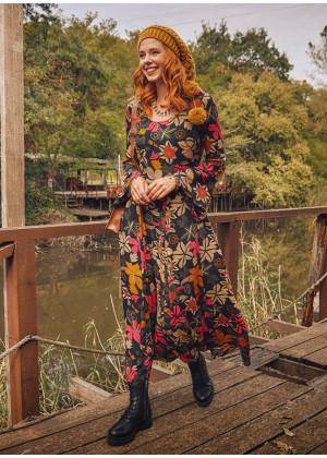 Floral Patterned Boat Neck Spanish Sleeve Women's Dress