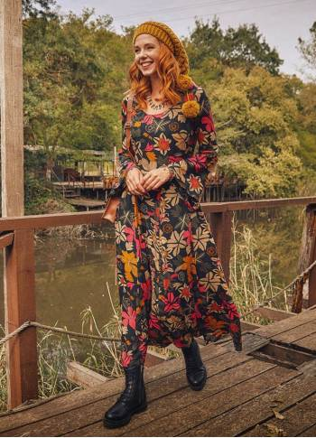 Floral Patterned Boat Neck Spanish Sleeve Women's Dress