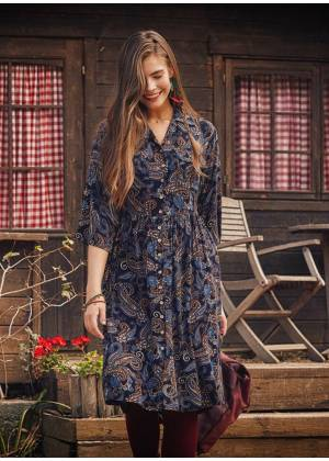 Navy Blue Patterned Paisley Shirt Dress