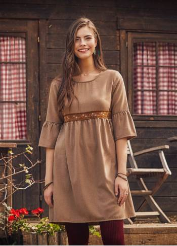Beige Lace Detailed Half Sleeve Winter Women's Dress