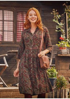 Green Patterned Paisley Shirt Dress