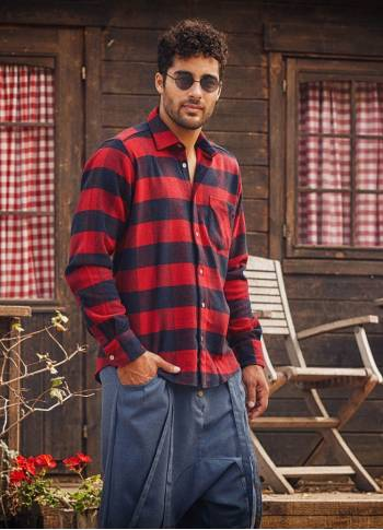Long-Sleeve Coconut Buttoned Men's Wholesale Buffalo Plaid Shirt