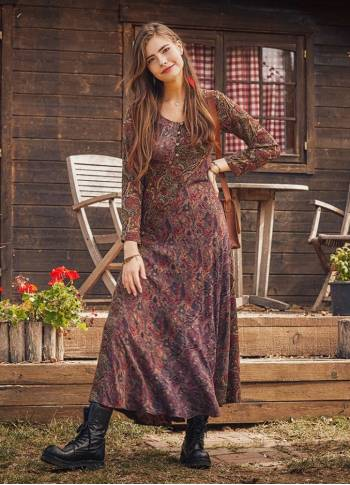 Otantic Patterned Long Sleeve Winter Patch Dress