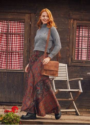 Etnic Patterned Patchwork Long Skirt