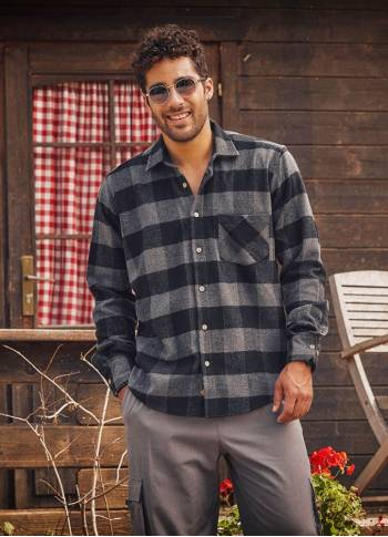Long Sleeve Button Detailed Mens Grey Buffalo Plaid Shirt