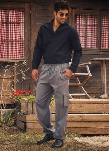 Comfortable Cut Gray Mens Pants with Elastic Waist and Waist