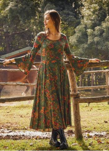 Boat Neck Green Floral Gypsy Style Long Dress