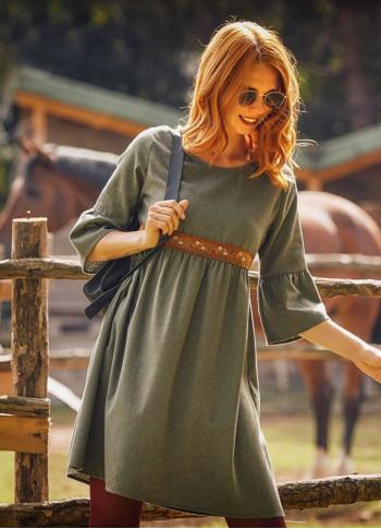 Khaki Lace Detailed Half Sleeve Winter Women's Dress
