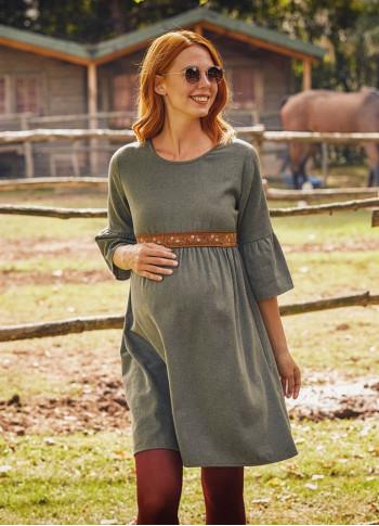 Khaki Lace Detailed Half Sleeve Winter Matenernity Dress