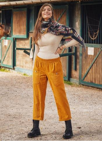 Pocket Detailed Elastic Mustard Women's Winter Trousers