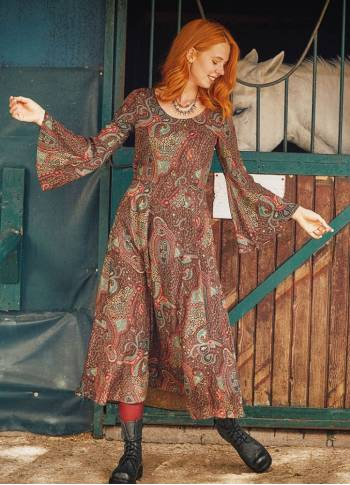 Ethnic Patterned Boat Neck Spanish Sleeve Women's Dress