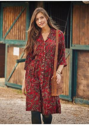 Red Patterned Paisley Shirt Dress