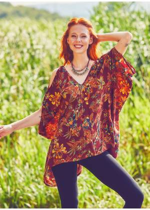Hem Detailed Cold Shoulder  Burgundy Flowering Tunic Top
