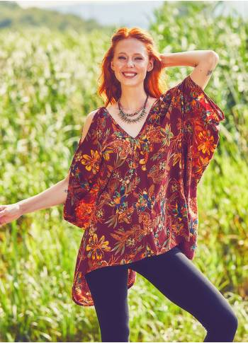 V Neck Burgundy Floral Cold Shoulder Tunic Top