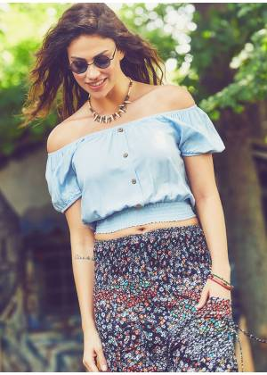 Flower Bohemian Off Shoulder  Light Blue Top