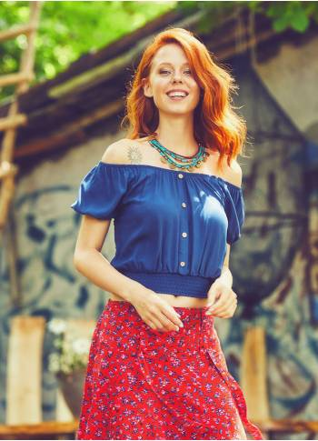 Flower Bohemian Off Shoulder İndigo Top