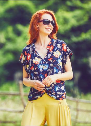Short Sleeve V-Neck Bohemian Style Patterned Women's Blouse