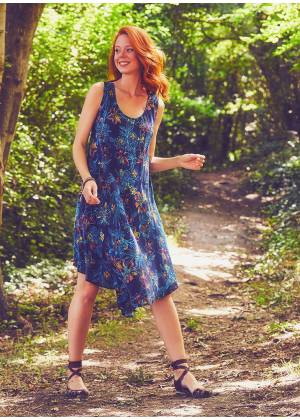 Scoop Neck Round Hem Sleeveless Indigo Lily Dress
