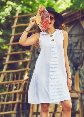 Authentic Large Button White Dress