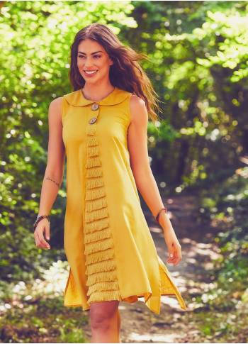 Authentic Large Button Yellow Dress