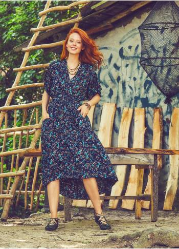 Bohemian Navy Blue Clover Dress