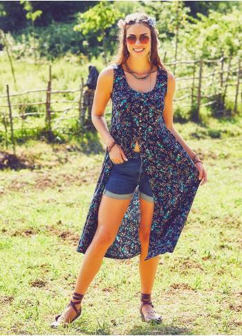 Boho Tunic Navy Blue Clover Dress