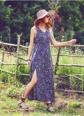 Halter Neck Maxi Gray Clover Dress