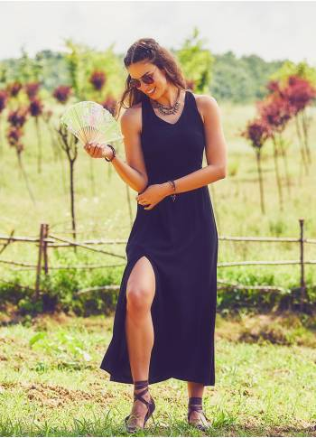 Halter Neck Maxi Black Dress