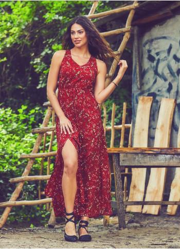 Halter Neck Maxi Red Clover Dress