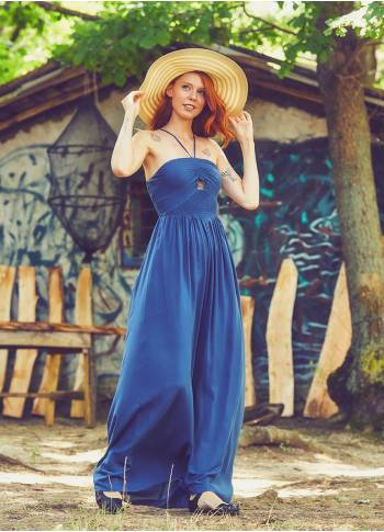 Ethnic Patterned Halter Blue Dress