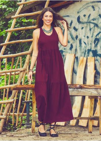 Casual Summer Maroon Dress