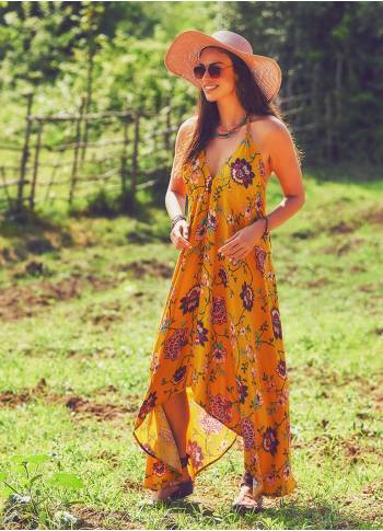 Mustard Floral Handkerchief Dress