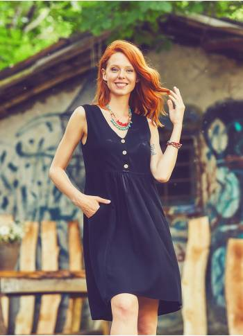 Boho Short Black Dress
