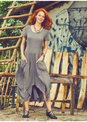 Amazon Print Asymetrical Hem Half Sleeve Vizon Dress