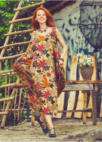 Scoop Neck Button Detail Pockets Loose Fit Boho Style Beige Flower Long Dress