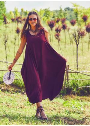 Bohemian Syle Scoop Neck Maxi Red Dress