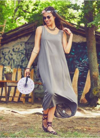 Scoop Neck Button Detail Pockets Loose Fit Boho Style Vizon Long Dress