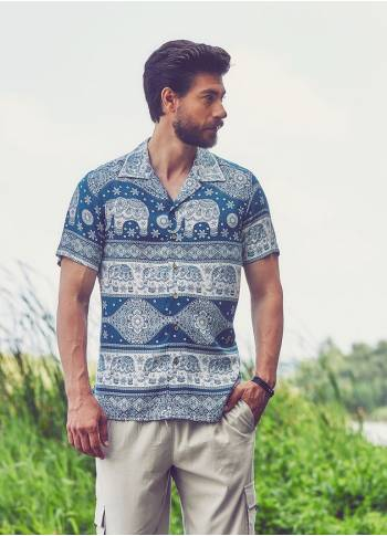 White Patterned Comfortable Fit Men's Shirt