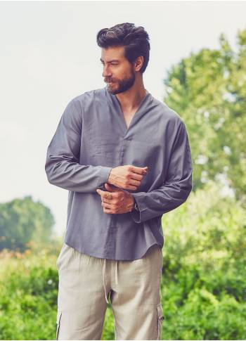 V Neck Long Sleeve Grey Men's Shirt