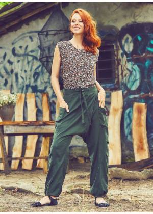 Pocket Detail Casual Boho Wholesale Cotton Drop Crotch Pants