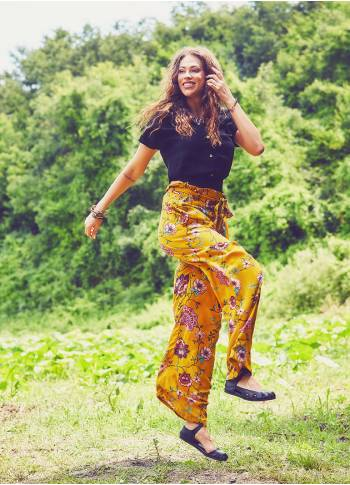 Loose Fit Boho Mustard Flowering Pants