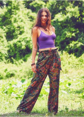 Loose Fit Boho Green Pants