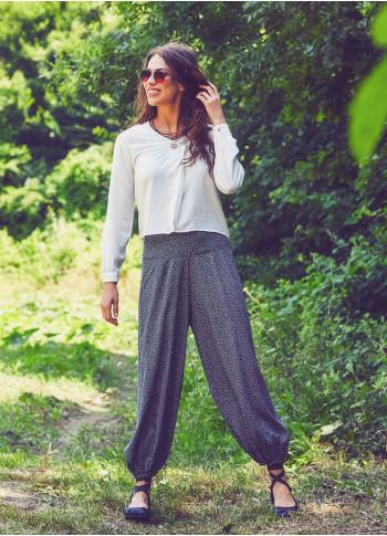 Elastic Waist Medium Rise Printed Harem Pants