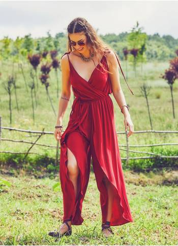 Boho Dressy Red Jumpsuit
