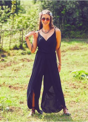 Boho Dressy Black Jumpsuit
