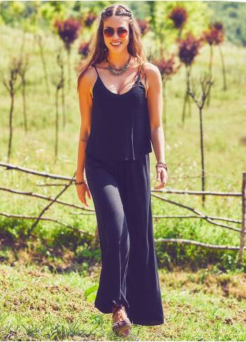 Strappy Boho Black Jumpsuit