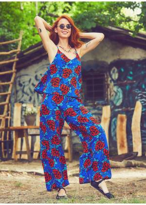 Strappy Boho Rose Pattern Jumpsuit