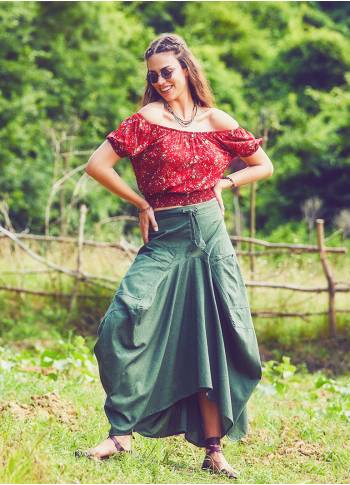Elastic Tie Waist Asymmetrical Hem Detail Cotton Boho Long Skirt