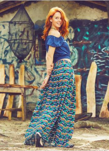 Pleated Elastic Banded Maxi Patterned Skirt