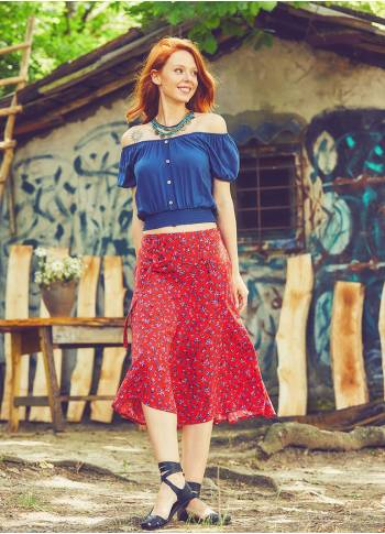 Authentic Patterned Elastic Waistband Red Skirt